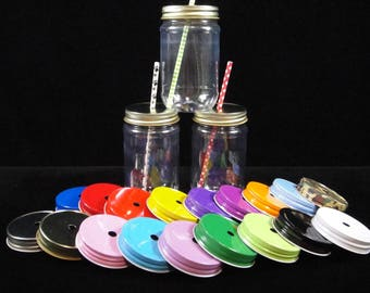 TWENTY FOUR  Mason Jars and Lids, Plastic Mason Jars, Kids Party Cups, Straw Cut Lids, Weddings, Favors,  Zoo Party, New Baby  - 16 oz jars