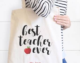 Personalized Teacher Canvas Tote Bag, Best Teacher Ever Tote bag, Teacher Gift, Personalized Gift