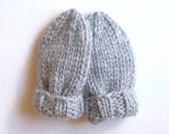 Light Gray Baby Mittens in Size 3 to 6 Months, Hand Knit Gender Neutral Shower Gift, No Thumb Mitts for Kids, Handmade Warm Winter Clothes