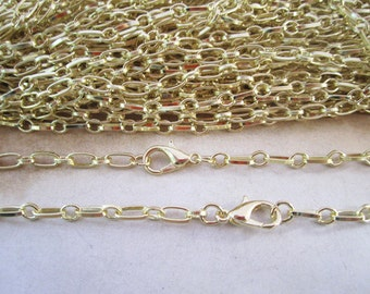 15pcs 3mm x6mm 65cm KC gold color  chain with clasp Lobster