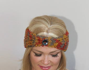 Button Headband Earwarmer Knit Headwrap CHOOSE COLOR Autumn Print Chunky Ear Warmer Button Headband Warm Black Hat  Boho Girly Gift under 25