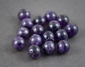set of 2 pcs - round beads Amethyst • purple • transparent veins, cracks, color natural • 14mm