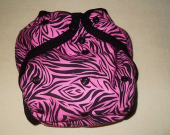 Pink Zebra stripe One size PUL Diaper cover