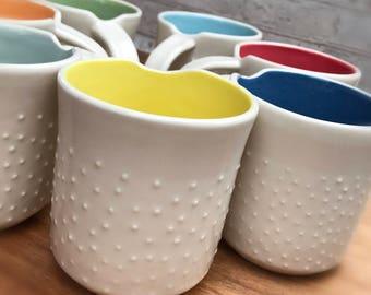 Studded custom color pottery mug - made to order - modern pottery mug - handmade pottery mug - custom - ceramic mug - modern - minimalist