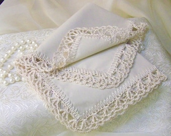 Off White Handkerchief, Hanky, Hankie, Hand Crochet, Lace, Lacy, Monogram, Personalized, Custom Embroidered, Orders Welcome, Ready to ship