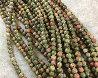 Unakite Round Bead Strand, 6mm, approx. 65 beads per strand