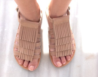 boho sandals, leather sandals, gladiator sandals,  Fringed Leather Sandals,