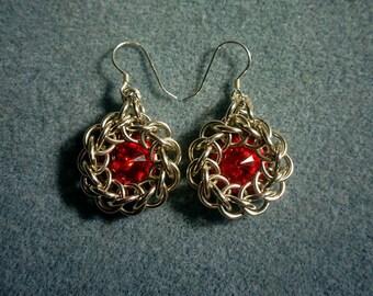 Silver Half Persian and Swarovski Earrings