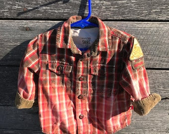 Bleached flannel kids shirt with Girl Scout badge