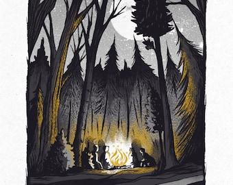 Campfire Conversations - Screenprinted Art Print