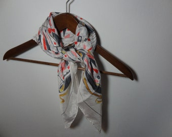 Vintage Women's Langerfeld Silk Scarf - Geometric Fans and Ribbons Design