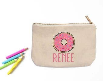 Personalized Donut Pencil Pouch // Custom Personalized Kids Cute Donut School Pencil Bag // Pencil Case