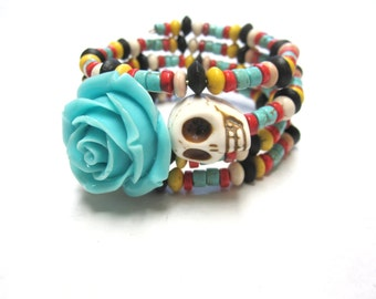 Sugar Skull Bracelet Day Of The Dead Jewelry Blue Rose Wrap Wood Stone