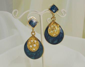 Vintage Teardrop Blue Enamel and Gold Filigree Drop Earrings  3216