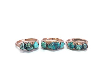 Turquoise Ring | Raw Turquoise Ring | Turquoise Jewelry | Copper Ring | Electroformed Ring | Raw Ring | Crystal Ring