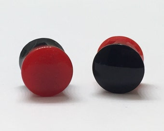 10mm (00g) Black and Red Reversible Plugs - Double Flared - Plugs - Gauges - Stretched Ears