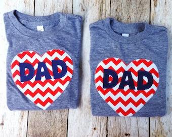 Father Daughter Father's Day Dad Tshirt Applique Matching Set Kids Red Chevron Heart Shirt valentine's boy girl kids children mom sibling