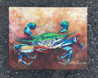 The Pinching Pincer  Vibrant original painting of a Blue Crab by New Orleans artist, Paige DeBell