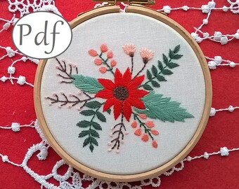embroidery pattern pdf - embroidery kit - spring pattern pdf  - embroidery kit - embroidery hoop art - Floral design