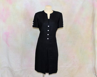 William Pearson Black Linen Dress  Vintage for Razooks  Size 8  Short Sleeved  Crystal buttons  Excellent Condition  Quality Vintage Item