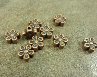 20pc. Copper Flower Spacers 7mm Antiqued Copper Metal Bead