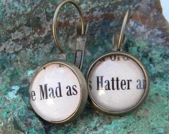 Word Earrings, Mad Hatter Earrings, Mad as Hatter Earrings, Alice In Wonderland Jewelry, Mad Hatter Word Earring, Mad Hatter Jewelry