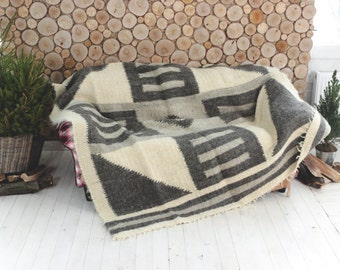 Woven Throw, Weighted plaid blanket, Gray sofa throw cover, Grey Wool Blanket, Woven Blanket, Warm blanket, Weighted Blanket, Couch throws