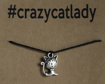 Crazy Cat Lady Wish Bracelet #crazycatlady - Buy 3 Items, Get 1 Free