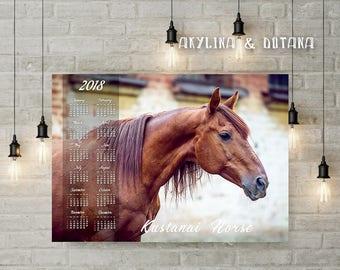 Calendar 2018 Kustanai Horse photo Wall art Printable A2 A3 Calendar One page At glance calendar Annual Calendar office decor home