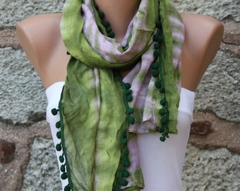 Green Ombre Pompom Cotton Scarf, Summer,Shawl Batik Design,Cowl bridesmaid gift Gift Ideas For Her,for friend Women fashion Accessories