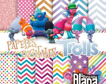 "12. digital papers Trolls 12 x 12 ""JPEG"