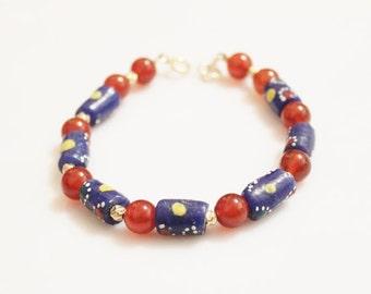 Blue African Beads and Carnelian Bracelet, Agate Bracelet