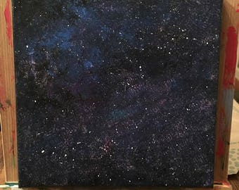 8x8 Galaxy Acrylic Painting on Canvas