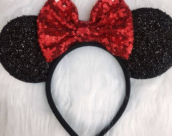 Red Disneyland Ears, Minnie Mouse Ears,Sequin Minnie ears, Christmas Ears, Red Sequin Bow, Bachelorette Party Mouse Ears.