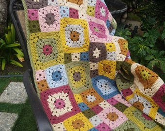 """Granny Square Crochet Throw Blanket 60"""" x 60"""" In Stock Ready to Ship"""