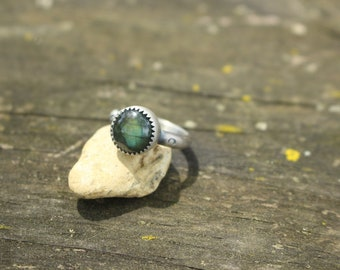 Size 4 - LABRADORITE STACK RING - Stamped Brave - Handmade - Sterling Silver - Gift For Her - Anxiety - Ready To Ship - Silver Ring