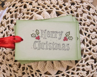 Holly & Berries Merry Christmas Tags on Green, Set of 12|Gift Tag, Holiday Tag, Party Favor, Goodies, Treat Bag, Embellishment, Gift Idea