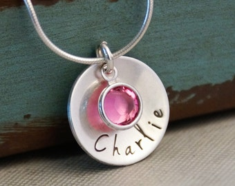 Hand Stamped Mommy Necklace - Personalized Jewelry - Sterling Silver Name Tag Deluxe Domed Necklace