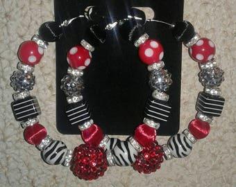 Red black and white hoop earrings