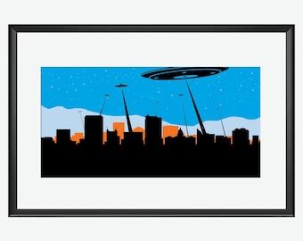 Boise skyline, Boise Idaho, Boise print, Boise poster, Boise art, Ufos print, Ufos, Ufos poster, Ufos art,  aliens print, aliens poster art