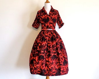 Red Hot 50s Shirtwaist Dress - Size Small