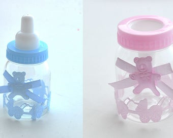 12 Pc Baby Shower Gift Box Bottle Blue Boy Pink Girl Baptism Christening Birthday Party Favors  Candy