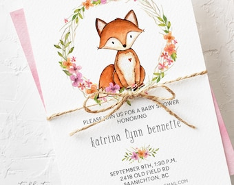 Baby Shower Invitations - Fox and Wild Flower Wreath (Style 13615)