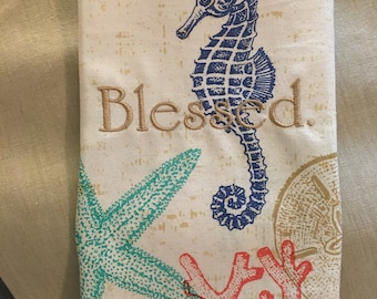 Seaside Kitchen Towel with Embroidery: Blessed.
