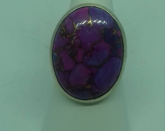 Purple Mohave  turquoise with Copper and silver Ring Set in Silver Size L