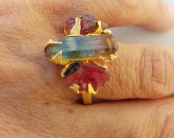 Tourmaline crystal ring