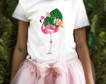 t-shirt girl tropical flamingo