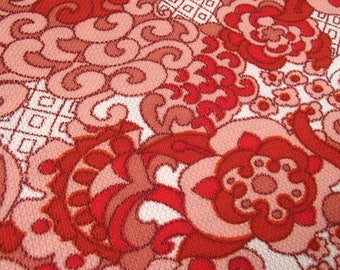 polyester vintage fabric / from Belgium / original 60s / polyester / red