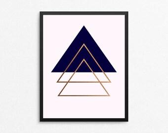 Navy Blush & Rose Gold Art Print, Geometric Triangle Art, Abrstract art print, Modern art print, Navy Rose Gold Art, Girly Office Decor