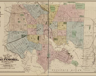 Poster, Many Sizes Available; Map Of The City Of Baltimore, Maryland 1878